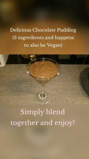 Simply blend together and enjoy! Delicious Chocolate Pudding (3 ingredients and happens to also be Vegan)